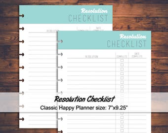 Printable Resolution Checklist, New Year Resolution