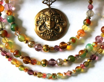 Fairy Queen Double Strand Pendant Necklace with Rainbow Agate, Chinese Crystals, Leaf Clasp and an Assortment of Other Crystals