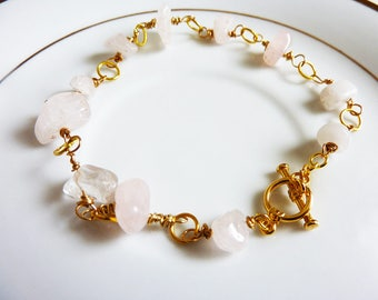 Wire Wrapped Pink Rose Quartz Chips Gold Link Bracelet