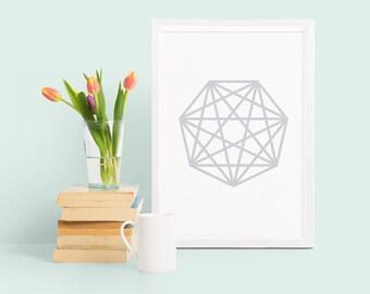 Heptagon geometric print, grey abstract poster, geometric wall art, monochrome geometric shape poster, abstract home decor, modern print