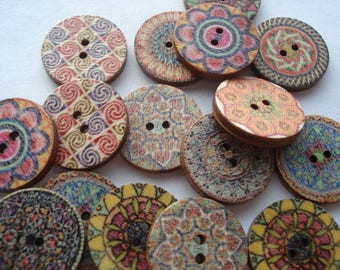 20mm Wooden Sewing Buttons, 2-Hole Round Mixed Buttons, Pack of 40 Mixed Buttons, 5p Buttons!! W2004