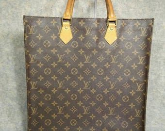 Louis Vuitton Vintage Handbag 1997 Sac Plat Monogram Canvas Shopping Bag, No Sticky, Canvas & Cowhide in Good Condition, Photos Link inside