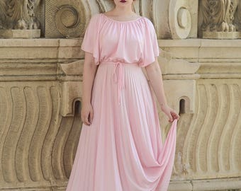 vintage 1970s pink pleated goddess gown