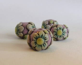 Spring Flower Beads, Round Macrame Beads, Whimsical White and Blue Flowers on Purple