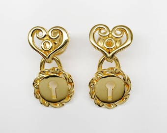 80s Vintage GIVENCHY Heart Door Knocker Pierced Earrings - Excellent Vintage Condition  - Perfect Unique Valentine Gift For Her