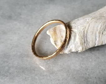 Hammered 14k gold band, wedding ring, stacking ring