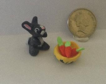 Miniature Bunny rabbit with carrots & bowl ornament clay gift dollshouse shelf collectable OOAK figurine mini scene SweetMiniature Sheryl.C