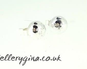 Organic Silver Pebble Stud Earrings