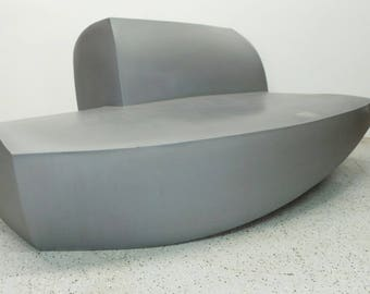 mid century modern Frank Gehry silver resin outdoor sofa