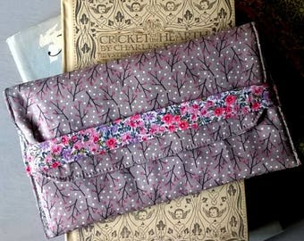 Grey Print Fabric Glasses Case / Specs case / Pouch / Purse / Bag / Eye glass case
