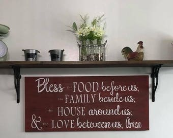 """16x36"""" custom wood bless this food sign"""
