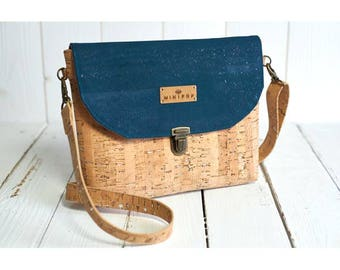 Shoulder bag vegan leather with silver and natural cork duck green flap supple and soft, eco-friendly and ethical.