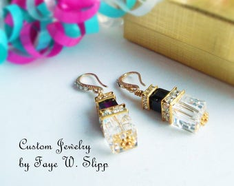 Free Shipping, Cube Earrings, Black and Clear Swarovski Crystal Earrings  with Silver Plated Squardelles and Rhinestone Ear Hooks