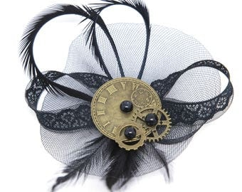 Black steampunk inspired hair clip and brooch or corsage