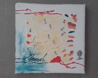 Mini abstract painting aquarium and fish silver