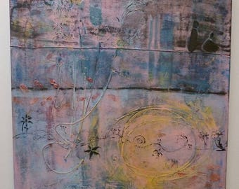 Large pink, blue and Black canvas painting abstract square also 80/80 cm