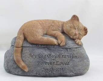 Ceramic Engraved Painted Cat Cremation Urn with Partial Ears- hand made pet urn