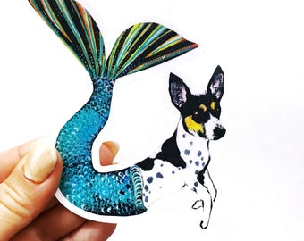 Mermaid Dog Sticker | Rat Terrier Sticker | Laptop Sticker | Mermaid Sticker | Rat Terrier Sticker | Outdoor Sticker | Nonfade Sticker