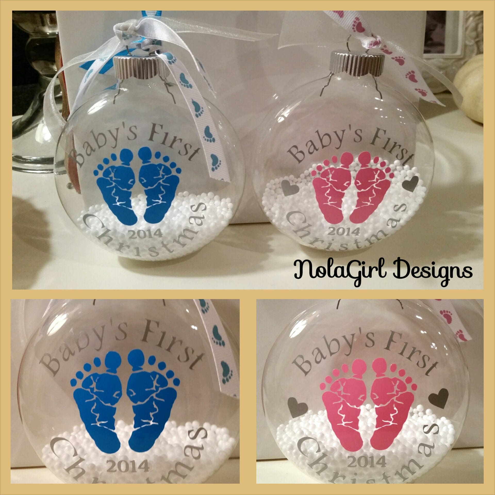Baby's First Christmas; Ornament, glass ornament, Baby's ...