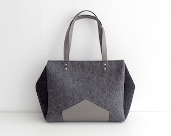 Gray Felt Leather Handbag