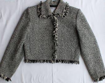 YVES SAINT LAURENT Beautiful Tweed Jacket Wool Mix French Size 40