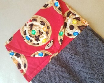 Chocolate Chip Cookie Hanging Kitchen Towel, Button Top Dish Towel, Mother's Day, Monster Cookies, Housewarming Gift, Bakery, Hostess Gift