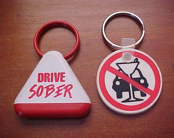1980s 1880s Pair of MADD Drive Sober Plastic Key Chains Drive Smart Sober I Support Mothers Against Drunk Driving Key Holders VGC