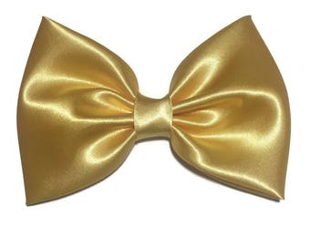 Yellow Hair Bow, Satin Hair Bow Clip, Bows For Women, Kawaii Bows, Handmade Bow, Satin Fabric Bow, Lolita, Big Bow, Baby Girl Bow, ST003