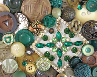 Green Giant*Vintage Green Button Lot*Green Button Pack*58 Buttons