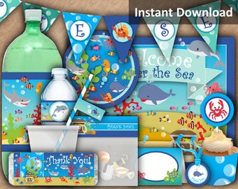 Under the Sea Party Decorations, Under the Sea Party Package, Printable Party Package, Kids Party Printables, Instant Download