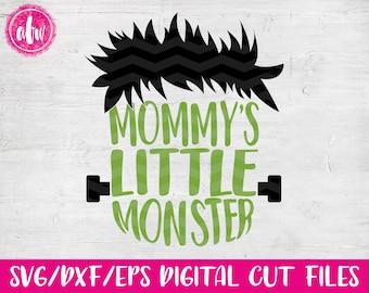 Mommy's Little Monster Frankenstein, SVG, DXF, EPS, Cut File,Halloween, Fall, Autumn, Vinyl, Silhouette, Cricut