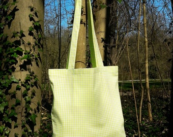 tote bag / purse in green gingham cotton