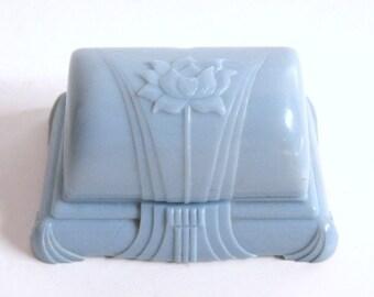 Reserved for Susan Layaway Deposit DECO Vintage Blue Floral Celluloid Plastic Velvet Satin Clam Shell  RING BOX