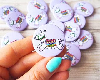 Llama Button Pin Badge Llama Gift Llama Art Patches and Pins Pinback Button Llama Pin Cute Pin Cute Button