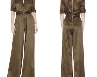 Alice + Olivia Olive Green Wide Leg Jumpsuit Romper Playsuit Designer Couture Army Green Onesie