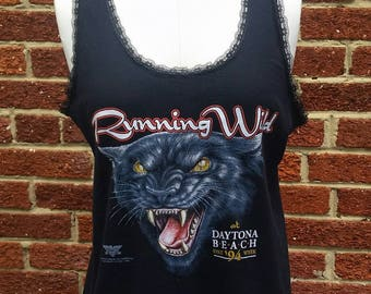 Vtg 90s Black Panther Biker Top // Daytona Beach Motorcycle Tank Top // Running Wild