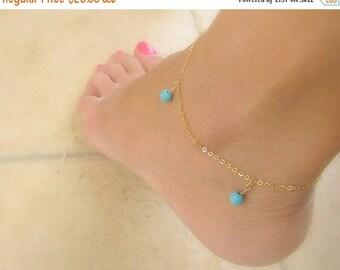 SALE - Anklet bracelet - Gold anklet - Turquoise anklet - Blue anklet - 14k gold filled anklet - Foot jewelry - Something blue