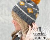 Crochet Beanie Pattern/ Tapestry Crochet Hat/ Waistcoat Stitch/ Spirit Mesa Beanie