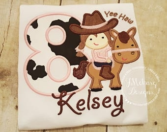 Cowgirl Birthday Applique shirt - Customizable -  Infant to Youth 87b
