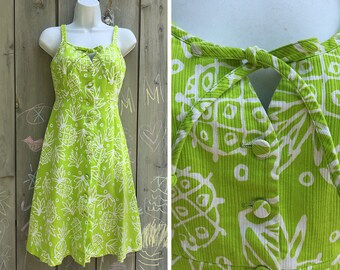 Vintage dress | 1960s Lord & Taylor mod lime green pineapple print sundress