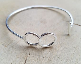 Infinity Open bangle Sterling Silver bangle Infinity Bangle Retirement Gift
