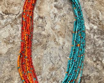 Turquoise & Orange Multi Strand Necklace