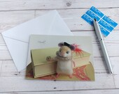 Hamlet Hamster Greetings Card Needle Felted Animal Photo Graduation Congratulations Thespian Notelet