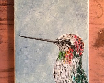 "Ruby-Throated Hummingbird. 5""x7"""
