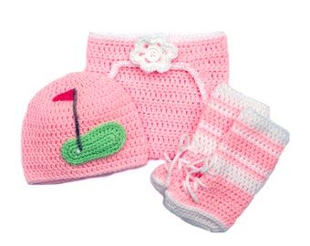 BABY GOLF OUTFIT Baby Girl Golf Crocheted, Pink Diaper Cover Crochet Baby Golf Knit Hat, Baby Golf Shoes, Pink Baby Golf Newborn Photography