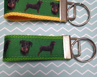 Rottweiler Dog Keychain Fob