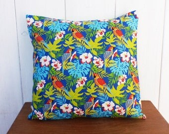 Cushion cover 40 x 40 exotic parrots and jungle and plain back JUNGALOW decor lime fabric