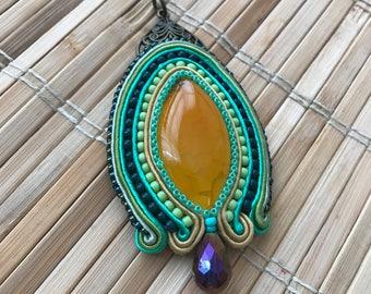 Handmade soutache pendant. Vegan friendly. Vegan jewellery. Handmade jewellery. Boho style. Boho chic. Handmade gift. Vegan gift.