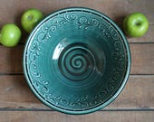 """10"""" Serving Bowl, Teal Green, Fruit Dish, Accent Piece, Birthday gift, mothers day present, IN STOCK, ready to ship"""