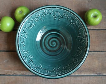 "10"" Serving Bowl, Teal Green, Fruit Dish, Accent Piece, Birthday gift, mothers day present, IN STOCK, ready to ship"
